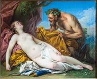 Carle Charles Andre Vanloo, Jupiter och Antiope, eremitboning, royaltyfri foto