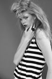 Carlies Fashion. Model with a make-up. It is black a white photo. Style from Elle Nova. Fashion Stock Photos
