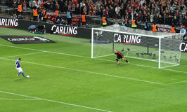 Carling Cup final - Cardiff penalty. The last penalty missed by Cardiff during the final of the Carling Cup 2012 between Liverpool FC and Cardiff City (Wembley Stock Image