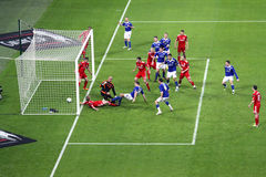 Carling Cup final - Cardiff scores. The last goal by Ben Turner during the final of the Carling Cup 2012 between Liverpool FC and Cardiff City (Wembley Stadium Royalty Free Stock Photography