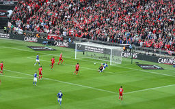 Carling Cup final - Cardiff scores. The first goal of Mason during the final of the Carling Cup 2012 between Liverpool FC and Cardiff City (Wembley Stadium, 26 Stock Images