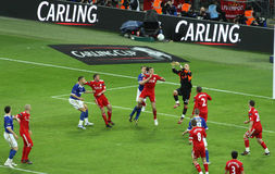 Carling Cup final - Goalie in action. Moment of  the final of the Carling Cup 2012 between Liverpool FC and Cardiff City, with the goalie Reina looking for an Stock Images