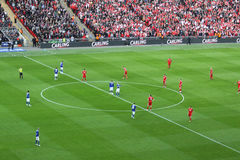 Carling Cup final - Kick Off. The moment of the kick off of the final of the Carling Cup 2012 between Liverpool FC and Cardiff City (Wembley Stadium, 26-02-2012 Stock Image