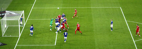 Carling Cup final - Panoramic action. Panoramic image of a corner kick of the final of the Carling Cup 2012 between Liverpool FC and Cardiff City (Wembley Stock Images