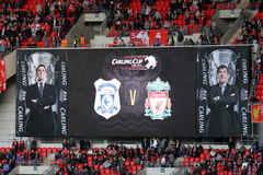 Carling Cup final schedule. The big monitor in Wembley with the schedule of the Carling Cup 2012 between Liverpool FC and Cardiff City (Wembley Stadium, 26-02 Stock Photo