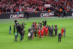Carling Cup - Liverpool celebration. The celebration of the victory by Liverpool team after the victory in the final of the Carling Cup 2012 against Cardiff City Stock Image
