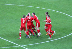 Carling Cup - Liverpool FC celebration. The celebration of the firts goal by Liverpool team in the final of the Carling Cup 2012 against Cardiff City(Wembley Stock Photos