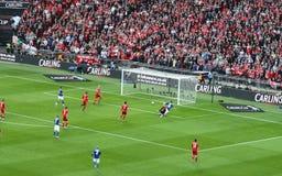 Carling Pokalspiel - Cardiff-Kerben Stockbilder
