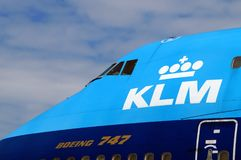 Carlinga de KLM Air France de las líneas aéreas de Royal Dutch Imágenes de archivo libres de regalías