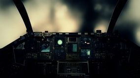 Carlinga de la nave espacial en un vuelo experimental de Point of View a través de las nubes en un clima tempestuoso stock de ilustración