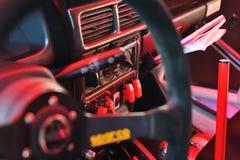 Carlinga del coche de Rallye imagenes de archivo