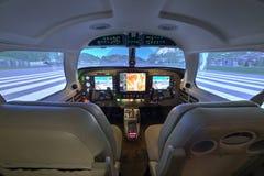 Carlinga del simulador de vuelo de Piper Meridian en Kunovice Fotos de archivo libres de regalías