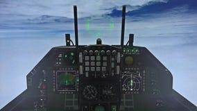 Carlinga F-15 sobre las nubes almacen de video