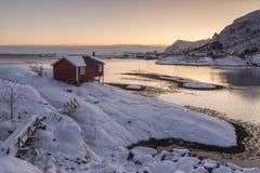 Carlingue de touristes en bois, rorbu, sur la côte nordique d'hiver dans Lofoten W Images libres de droits