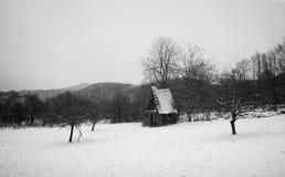 Carlingue en bois dans la forêt d'hiver Photographie stock libre de droits