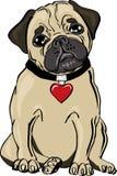 Carlino con una collana del cuore royalty illustrazione gratis