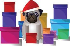 Carlino in un cappello di Natale Immagine Stock Libera da Diritti