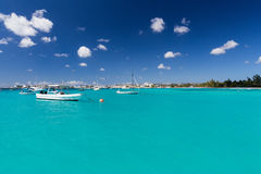 Carlisle Bay in Barbados. Carlisle Bay is a small natural harbor located in the southwest region of Barbados. The island nation`s capital, Bridgetown, is Royalty Free Stock Photography