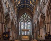 Carlisle Cathedral Nave Altar Stained exponeringsglas Fotografering för Bildbyråer