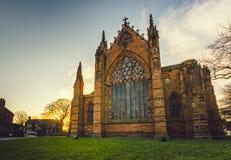 Carlisle Cathedral på skymning Royaltyfria Bilder