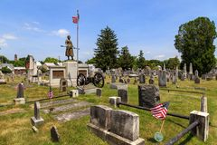 Molly Pitcher Standing in Old Graveyard. Carlisle, PA, USA – June 26, 2016: The Mary Ludwig Hays - better known as Molly Pitcher - gravesite, located in the Royalty Free Stock Photo