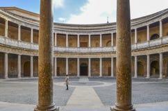 Carlo V pałac, Alhambra, Hiszpania fotografia royalty free