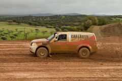 Carlos Almeida drives a Nissan Pathfinder. PORTALEGRE, PORTUGAL - NOVEMBER 3: Carlos Almeida drives a Nissan Pathfinder in BAJA 500, integrated on FIA World Cup Stock Photo
