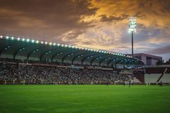 `Carlos Belmonte` football soccer stadium in Albacete Spain. Sunset on the `Carlos Belmonte` football soccer stadium in Albacete Spain on a `La Liga` match royalty free stock photos