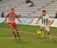 Carlos Caballero from match league Cordoba-Girona Stock Photos