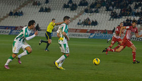 Carlos Caballero from match league Cordoba-Girona Stock Photo