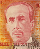 Carlos Chagas. On 10000 Cruzados 1989 Banknote from Brazil. Biologist, physician and scientist active in the field of neuroscience Stock Image