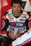 Carlos Checa - Ducati 1098R - het Rennen Althea Stock Afbeeldingen