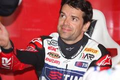 Carlos Checa - Ducati 1098R - het Rennen Althea Stock Afbeelding