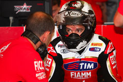 Carlos Checa #7 on Ducati 1199 Panigale R Team Ducati Alstare Superbike WSBK Royalty Free Stock Photo