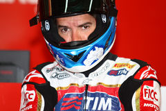 Carlos Checa #7 på Ducati Panigale 1199 R Team Ducati Alstare Superbike WSBK Royaltyfria Foton