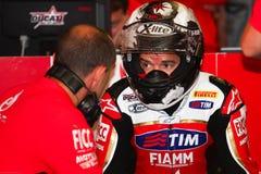 Carlos Checa #7 su Ducati Panigale 1199 R Team Ducati Alstare Superbike WSBK fotografia stock libera da diritti