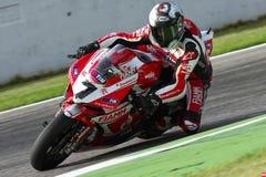 Carlos Checa #7 su Ducati Panigale 1199 R Team Ducati Alstare Superbike WSBK immagini stock libere da diritti