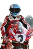 Carlos Checa #7 su Ducati Panigale 1199 R Team Ducati Alstare Superbike WSBK immagine stock