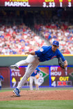 Carlos Marmol. Relief pitcher, for the Chicago Cubs, follows through on a pitch during a game versus the Cincinnati Reds at The Great American Ball Park, in Royalty Free Stock Image