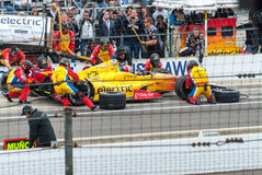 Carlos Munoz at the pit at Indy 2013 Royalty Free Stock Images