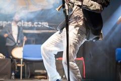 Carlos Nuñez, famous player of the gaita, Festival folk rock Stock Photos