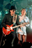 Carlos Santana en Rob Thomas royalty-vrije stock afbeeldingen