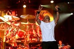 Carlos Santana on Tour - Luminosity Tour 2016. Andy Vargas singer on Carlos Santana Live show in Gondomar, Portugal - July 26, 2016 royalty free stock photography