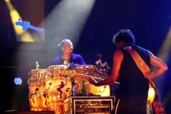 Carlos Santana on Tour - Luminosity Tour 2016. Benny Rietveld bassist on Carlos Santana Live show in Gondomar, Portugal - July 26, 2016 Stock Photos