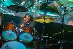 Carlos Santana on Tour - Luminosity Tour 2016. Cindy Blackman drummer on Carlos Santana Live show in Gondomar, Portugal - July 26, 2016 Stock Photos