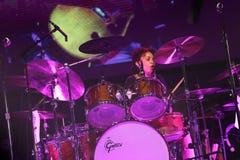 Carlos Santana on Tour - Luminosity Tour 2016. Cindy Blackman drummer on Carlos Santana Live show in Gondomar, Portugal - July 26, 2016 royalty free stock image