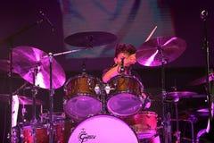 Carlos Santana on Tour - Luminosity Tour 2016. Cindy Blackman drummer on Carlos Santana Live show in Gondomar, Portugal - July 26, 2016 royalty free stock photo