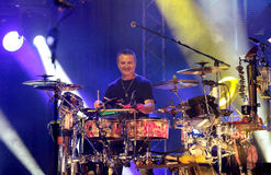 Carlos Santana on Tour - Luminosity Tour 2016. Paoli Mejías percussionist on Carlos Santana Live show in Gondomar, Portugal - July 26, 2016 Stock Image