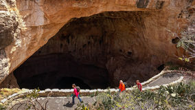 Carlsbad Caverns National Park - Tourists Hiking the Natural Ent. Tourists hike the trail into and out of the Natural Entrance at Carlsbad Caverns National Park Royalty Free Stock Photos