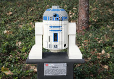 CARLSBAD, US, FEB 6: Star Wars R2-D2 Minifigure made with lego b Royalty Free Stock Image